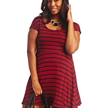 Striped Cross-Back Skater Dress | Wet Seal+
