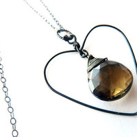 Black Hearted Smokey Quartz Oxidized Sterling  Pendent