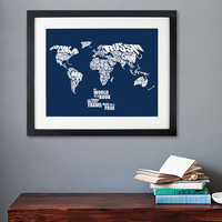The World is a Book - World Word Map with Travel Quote - 8x10