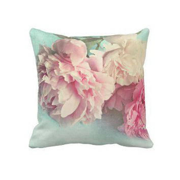 pillow shabby chic pink peonies from Zazzle.com