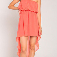 Summer Hi Low Chiffon Dress in Coral