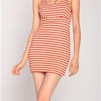 Striped Criss Cross Stretchy Dress in Red/Beige