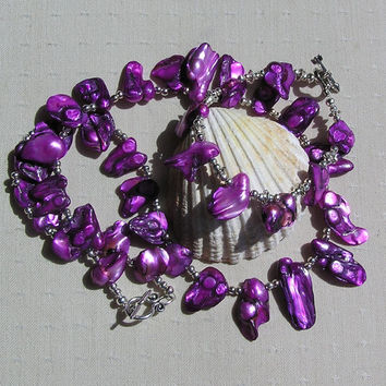 "Necklace & Bracelet Set - Purple Biwa Freshwater Pearl and Sterling Silver - ""Panache"""