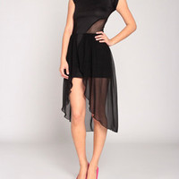 Petal Tulip Accent Dress in Black