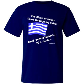 "Funny image designed to make those with a sense of humor (humour) laugh. Shows wavy Greek Flag and reads, ""The blood of Hellas flows through my veins. And sometimes...it's ouzo."" Writing is in white. $21.99 ink.flagnation.com"