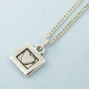 Tiny Heart Necklace - Antique Silver Heart in Square Charm 18 Inch Silver Chain Pendant Jewelry