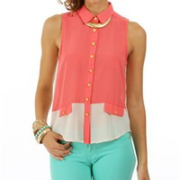 Coral/Ivory Two Tone Woven Top