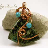 """Wire Wrapped- Chrysocolla Pendant- in copper wire-""""Simply Elegant """" series Gem036"""