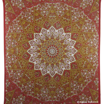Red White Indian Star Mandala Dorm Decor Tapestry Wall Hanging Bedspread on RoyalFurnish.com