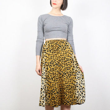 Vintage Skirt Midi Skirt Leopard Print Skirt Brown Black Gold Skirt Cheetah Print Animal Print Boho Skirt High Waisted Skirt 1980s M Medium