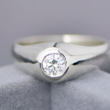 Back To School Sale Mens Ring – White Topaz Jewelry – Sterling Silver Gentlemen's Ring -…