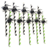 Halloween Party Supplies - Spider Straws - Halloween Party Decor - Pack of 10