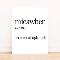 Printable Art Micawber Definition Typography Poster Office Art Apartment Art Home Decor Bedroom Decor