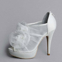Platform Shoe with Organza Flowers