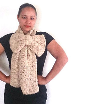 Crochet Bow Scarf, Winter scarf in beige - Crochet statement scarf with detachable bow