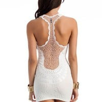 textured-crochet-back-dress IVORY - GoJane.com