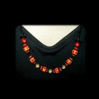 SUMMER FUN Orange Yellow and Black Hand Painted Necklace and Earring Set by WhiteOwlDesigns
