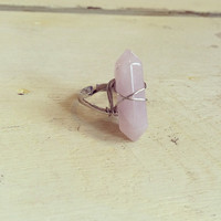 Rose Quartz Wire Wrapped Chakra Ring - Adjustable - from Traditionalheart