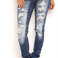 Ariya Curvy Fit Skinny Jean with Heavy Destruction Details