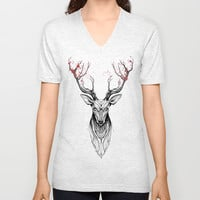 Deer tree (black stroke version for t-shirts) Unisex V-Neck by Rafapasta