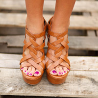 Camel Cross Strap Wedges - Lotus Boutique