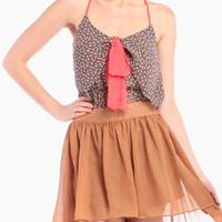 Bowed Up Layered Tank in Coral/Navy
