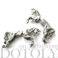 3D Fake Gauge Realistic Horse Unicorn Animal Stud Earrings in Silver