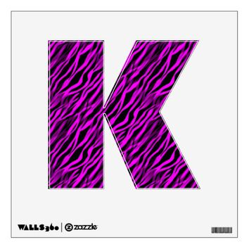 Pink Black Zebra Stripe Personalized Letter Decal