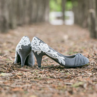 Wedding Heels - Grey Wedding Shoes/Grey Bridal Shoes with Ivory Lace. US Size 10