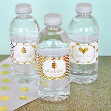 Personalized Metallic Foil Water Bottle Labels