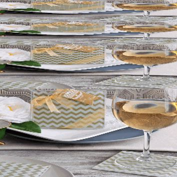 Gold Chevron Glass Coaster Favors