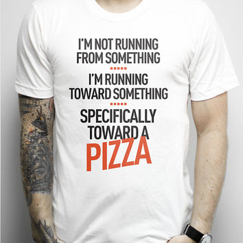 Running Toward Pizza, White Tee Shirt - funny workout shirt, joke, pizza,eyes on the prize, goals, accomplishments, shirts, clothing, tees,