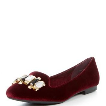 Burgundy Velvet Gem Tab Slipper Shoes