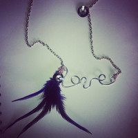 Silver Love Necklace with Purple Feathers & Crystal Beads