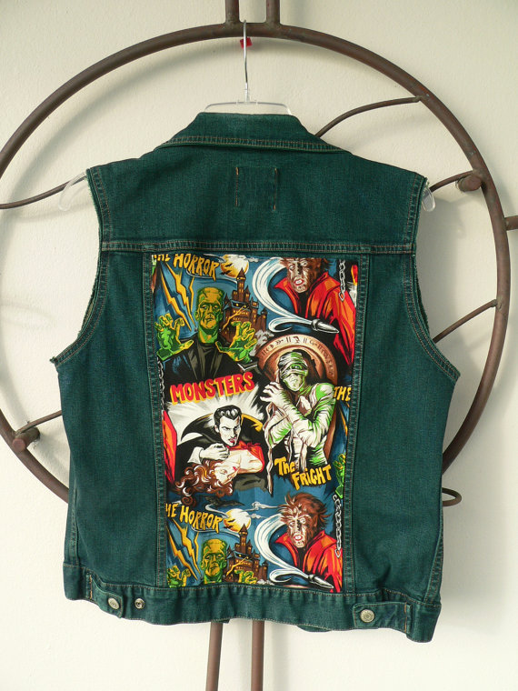 Denim Vest - Custom Made to Order - Horror Classic Vintage