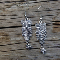 Silver Owl and Flower Earrings