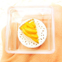 Cute Food Ring Miniature Food Jewelry Banana Pie Display Case