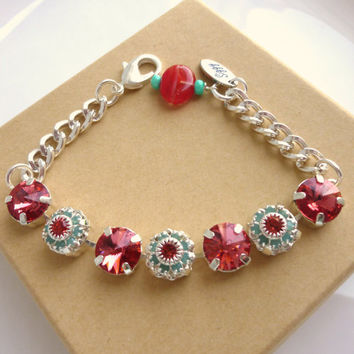 Swarovski crystal bracelet, 10.5mm padparadscha and opal, flower accents, designer inspired crystal bracelet