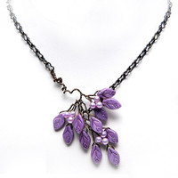 Violet Leaf Necklace,  Purple Twig Necklace,  Branch Necklace of leaves, Nature Inspired Jewelry