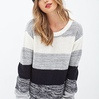 FOREVER 21 Striped Crew Neck Sweater Pink/Cream