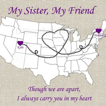 My Sister My Friend Textured Map Print- close to heart print, college moving gift, USA heart map, long distance sister, sisters gift print