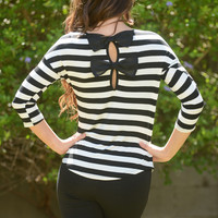 El-Beau Stripes Top - Black/Ivory