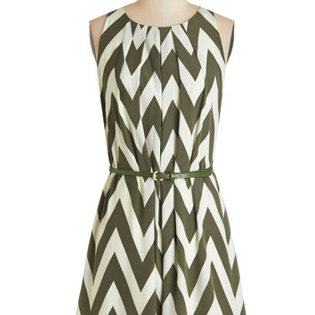 ModCloth Sleeveless A-line Great Wavelengths Dress in Olive