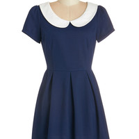 ModCloth Vintage Inspired Short Short Sleeves A-line Record Time Dress in Navy