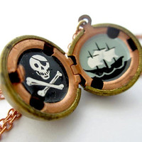 Pirate Locket - Hand-Painted Jolly Roger Miniature - One of a Kind in Black, White, and Gray Oil