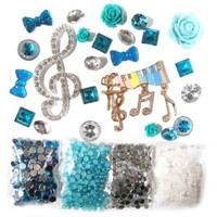 DIY 3D Bling Cell Phone Case Deco Kit: Teal Musical Symbols with Rhinestones and Pearls