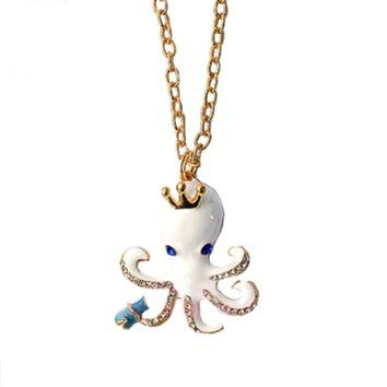 Sea Excursion Octopus Long Gold Necklace