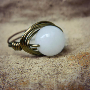Handmade Wrapped Ring - Size 5 - White Quartz - White, Ice, Brass, Otter Brown, Chocolate, Cocoa, Coffee, Ivory, Dark, Night, Jewelry Rings