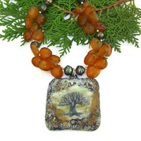 Tree of Life Pendant Necklace Handmade Chalcedony Pearls Brown Green