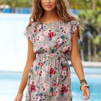 Floral Blelted Shift Dress